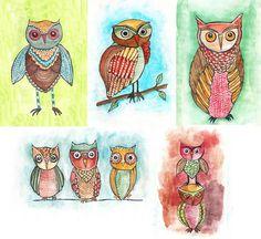 owls by Alisa Burke
