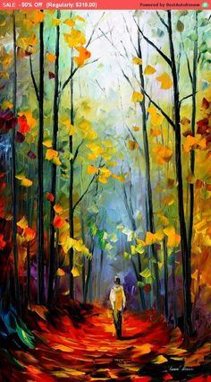 "Morning Mood — Palette Knife Landscape Forest Artwork Oil Painting On Canvas By Leonid Afremov. Size: 20"" X 36"" Inches (50cm x 90cm)"