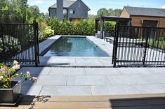 Backyard Plan, Backyard Pool Landscaping, Swimming Pools Backyard, Swimming Pool Designs, Stone Around Pool, Fence Around Pool, Pool Fence, Small Pools, Stone Tiles