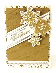 Note tone-on-tone diagonal stamping/embossing effect. Use clear ink & gold embossing.