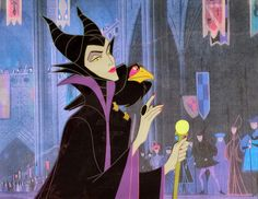 """Original hand painted and hand inked production cel of Maleficent and Diablo set on a lithographic background from """"Sleeping Beauty,"""" 1959; Size - Maleficent & Diablo 7 1/2"""" x 5 3/4"""", Cel 10 3/4"""" x 10 1/2"""", Mat 15 3/4"""" x 17 3/4"""", Mat Opening 7 3/4"""" x 9 3/4""""; Matted."""