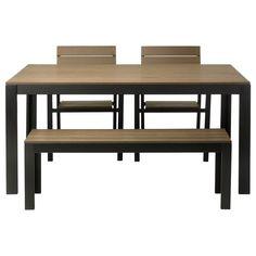FALSTER テーブル、ベンチ、アームチェア2脚 - ブラック/ブラウン - IKEA