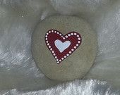 Hand painted stone Heart design