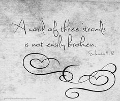 A cord of three strands is not easily broken. ecclesiastes 4:12... @athreestrandmarriage.wordpress.com ...coming soon!