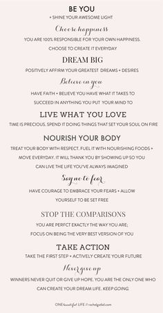One Beautiful Life Manifesto
