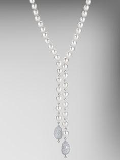 Semi Baroque Pearl Necklace with Baroque Diamond Pave Pendants