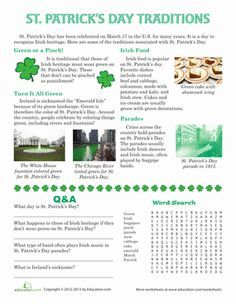 St. Patrick's Day Third Grade History Comprehension Worksheets: St. Patrick's Day Traditions
