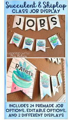 This succulent and shiplap themed job display makes keeping up with class jobs easy and simple! Simply move the name clips around as needed-- and edit the jobs to match your classrooms personal needs and responsibilities!