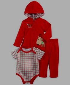 FIRST IMPRESSIONS BABY BOYS 3-PIECE HOODED RED CHRISTMAS OUTFIT SIZE  0-3 MONTHS #FIRSTIMPRESSIONS #CasualFormalParty