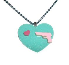 Pink Gun and Heart Necklace
