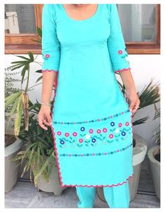 Simple Embroidery Designs, Kurti Embroidery Design, Embroidery Fashion, Creative Embroidery, Sleeves Designs For Dresses, Dress Neck Designs, Bridal Blouse Designs, Embroidery Suits Punjabi, Hand Embroidery Dress