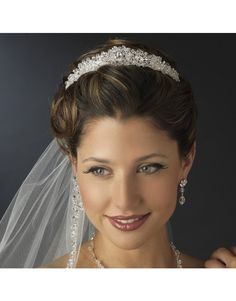 Princess bride couture bridal tiara headpiece with encrusted Swarovski Crystals and Rhinestones HP 6566