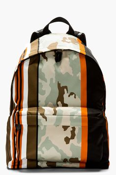GIVENCHY Mint & orange printed CAMO BACKPACK