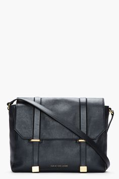 marc by marc jacobs | black buffed messenger bag $450