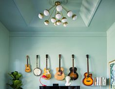 Great way to display the family instruments.