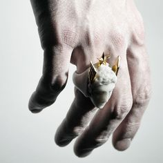 HERMES RING by Macabre Gadgets: white marble, 24K gold STORE-MACABREGADGETS.COM