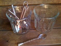 2 vintage French clear glass confiture / jam jars by AtelierMooch, $20.00