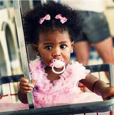 baby with dummy #CurlyHair