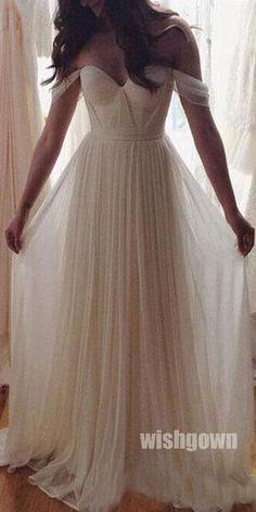 Off the Shoulder Sweetheart Chiffon Simple Long Beach Wedding Dresses 1e5fc02fed5c