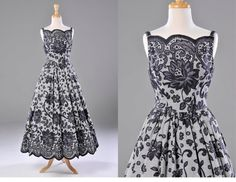 Vintage 50s black and white lace printed by OffBroadwayVintage, $495.00