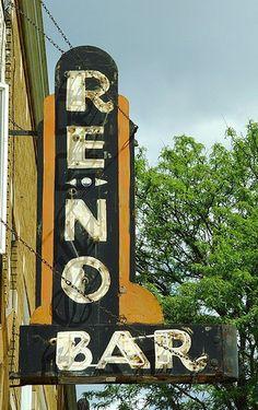 Reno Bar Art Deco Neon Sign - Greenville, Michigan - 5/14/09 by randomroadside, via Flickr