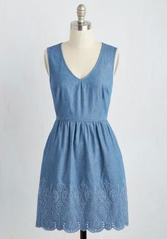Optimist Connections Dress - Blue, Solid, Pockets, Casual, Sundress, A-line, Sleeveless, Spring, Woven, Better, Mid-length, Cotton