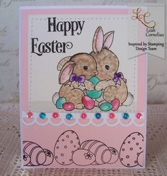 Inspired By Stamping, Leah Cornelius, Easter Bunnies, watercolor, easter card, handmade cards