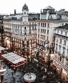 Rainy night at Graben ☔ ~ Vienna, Austria Phot Places Around The World, Oh The Places You'll Go, Places To Travel, Travel Destinations, Places To Visit, Voyage Europe, Travel Aesthetic, Future Travel, Tour Eiffel