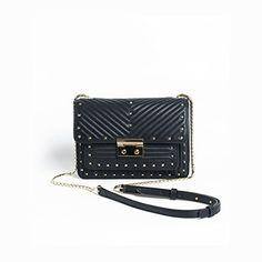 Elegant rivet small designer black leather shoulder handbags