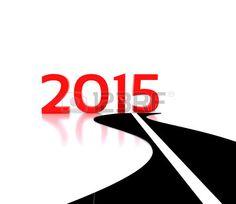Carretera que conduce hacia el Año Nuevo 2015. Foto de archivo. Road leading to the New Year 2015.