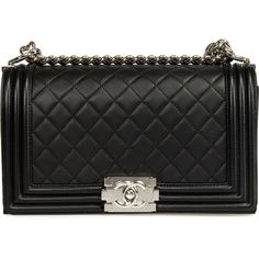 Chanel Boy Flap Bag Quilted Lambskin ($4,000) ❤ liked on Polyvore featuring bags, handbags, black, chanel, crossbody chain purse, crossbody handbag, quilted chain purse, handbags purses and purse crossbody