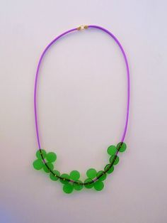 original plastic necklace lilac and green necklace everyday funky statement necklace geometric circle uniquenecklace