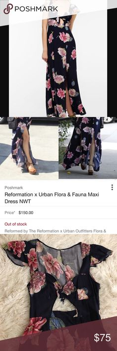 Reformation x UO Flora & Fauna Maxi Dress 🚫No Trades🚫 Worn a handful of times, has two small defects not noticeable when wearing. The zipper won't close fully as pictured (not even half an inch) and there's a slight tear near the zipper. Super cute details like ruffled sleeves, slits in the front, keyhole opening up top and an open back Reformation Dresses Maxi