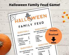 Halloween Facts, Family Halloween, Halloween Trivia, Halloween Ideas, Bonfire Games, Fall Bonfire, Fun Group Games, Cute Games, Family Feud Game