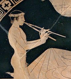 Pintor de Euaion, Joven tocandp el aulós. Tondo de una copa ática, 460 a.C.