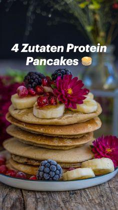 Protein Pancakes Vegan, Vegan Protein Bars, Whole Food Recipes, Vegan Recipes, 4 Ingredient Recipes, Sweet Breakfast, Snacks, Vegan Baking, Omelet