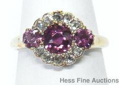 Antique Old Mine Diamond Natural Pink Sapphire 14k Gold Stunning Victorian Ring #FashionRightHand