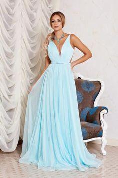 rochie de seara lunga din voal bleu
