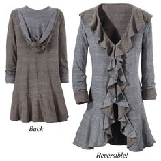 Reversible Hooded Ruffle Jacket  lt's Rufflesible! Feels like a soft sweatshirt, drapes like a jacket—and it's reversible! Loosely hooded and with a ruffle lapel, this versatile garment can be worn in either of two, warm earth-tone shades.