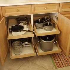 kitchen cabinets organization Pull-out shelves, shelves that slide, roll-out shelves or sliding shelves. Whatever you want to call them, they make the chore of finding t Kitchen Cabinet Drawers, Best Kitchen Cabinets, Kitchen Cabinet Organization, Kitchen Cabinet Design, Storage Cabinets, Cabinet Ideas, Organization Ideas, Organizing, Storage Ideas