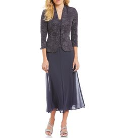 Shop for Alex Evenings Jacquard Tea-Length Jacket Dress at Dillards.com. Visit Dillards.com to find clothing, accessories, shoes, cosmetics & more. The Style of Your Life. Semi Formal Dresses, Formal Dresses For Weddings, Casual Dresses, Dresses For Work, Mother Of Groom Dresses, Bride Groom Dress, Mother Of The Bride, Bride Dresses, Wedding Dresses