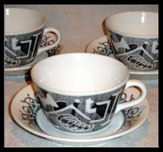 "Cup ""Domnarvet Valsprofiler"" by Calle B. for Gustavsberg. Serving Utensils, Porcelain Ceramics, Teacups, Vintage Designs, Old Things, Notes, Baking, Coffee, Tableware"