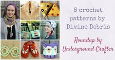 Roundup: 8 crochet patterns by Divine Debris, including women& accessories, amigurumi, and more, with 3 freebie patterns! via Underground Crafter Crochet Round, Cute Crochet, Crochet Toys, Crochet Slippers, Creative Design, Women's Accessories, Blog, Crochet Patterns, Diy Crafts