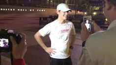 Landon Cassill at NASCAR Hall of Fame after his marathon day of the Coca-Cola 600 and 14 mile run.