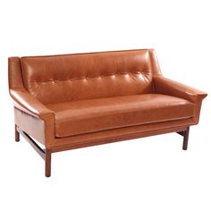 Gorgeous Caramel Leather and Rosewood Danish Loveseat