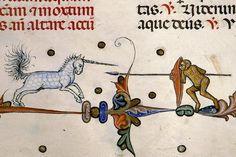 unicorn vs. monkey  Pontifical of Guillaume Durand, Avignon, before 1390.   Paris, Bibliothèque Sainte-Geneviève, ms. 143, fol. 232r
