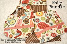 Baby Shower Gifts Bundle, Blanket, Bib and Burp cloth tutorial