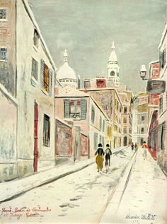 Sacre Coeur de Montmartre et Passage Cottin by Maurice Utrillo, 1934. The Basilica of the Sacre Coeur ('Sacred Heart') sits at the summit of Montmartre hill in the north of Paris, where many of the buildings are white. Impressionist Maurice Utrillo has depicted the streets covered in snow, adding to the pristine whiteness of the town.