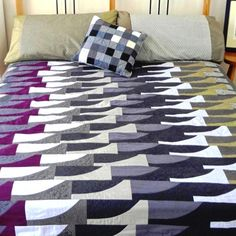 Rockpool Topper Quilt - Dynamic grey, olive & purple wave shapes with delicate imaginative quilting.. $720.00, via Etsy.