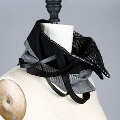 Black and White Textured Scarf Scarflette Collar Wrap